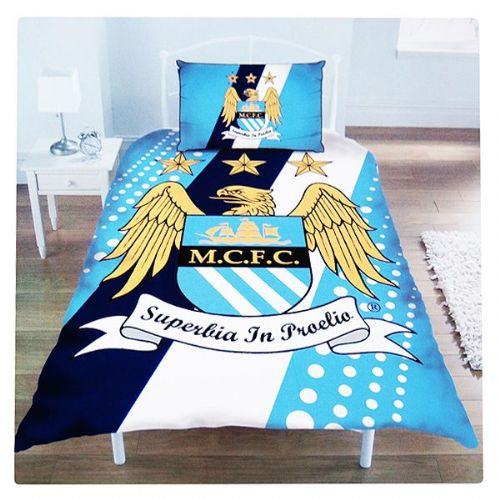 MANCHESTER CITY FOOTBALL CLUB SINGLE SIZE DUVET COVER BEDDING SET